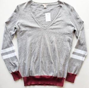 J. Crew V Neck Sweater Varsity Stripe Gray Maroon